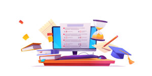 Online testing banner. Concept of e-learning, examination on computer. Vector illustration of monitor with checklist form for exam, survey or quiz, books and hourglass